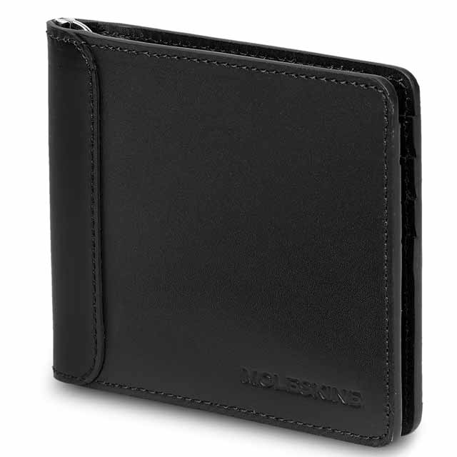 Moleskine Classic Genuine Leather Clip Wallet - Black