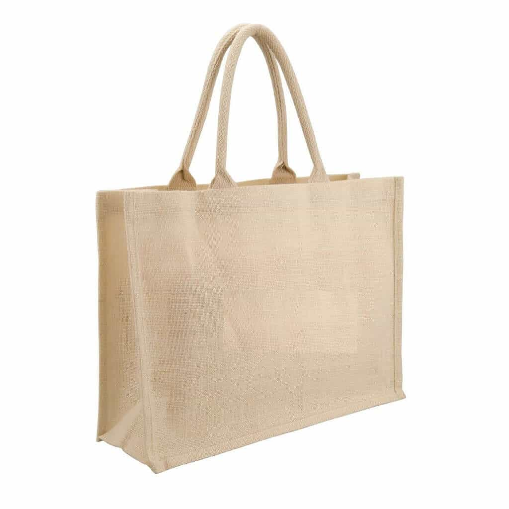 Eco-neutral Jute Shopping Bag - Horizontal - White