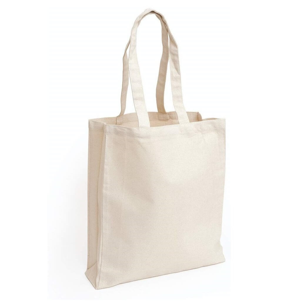 Eco Friendly Cotton Shopping Bag With Gusset - Natural