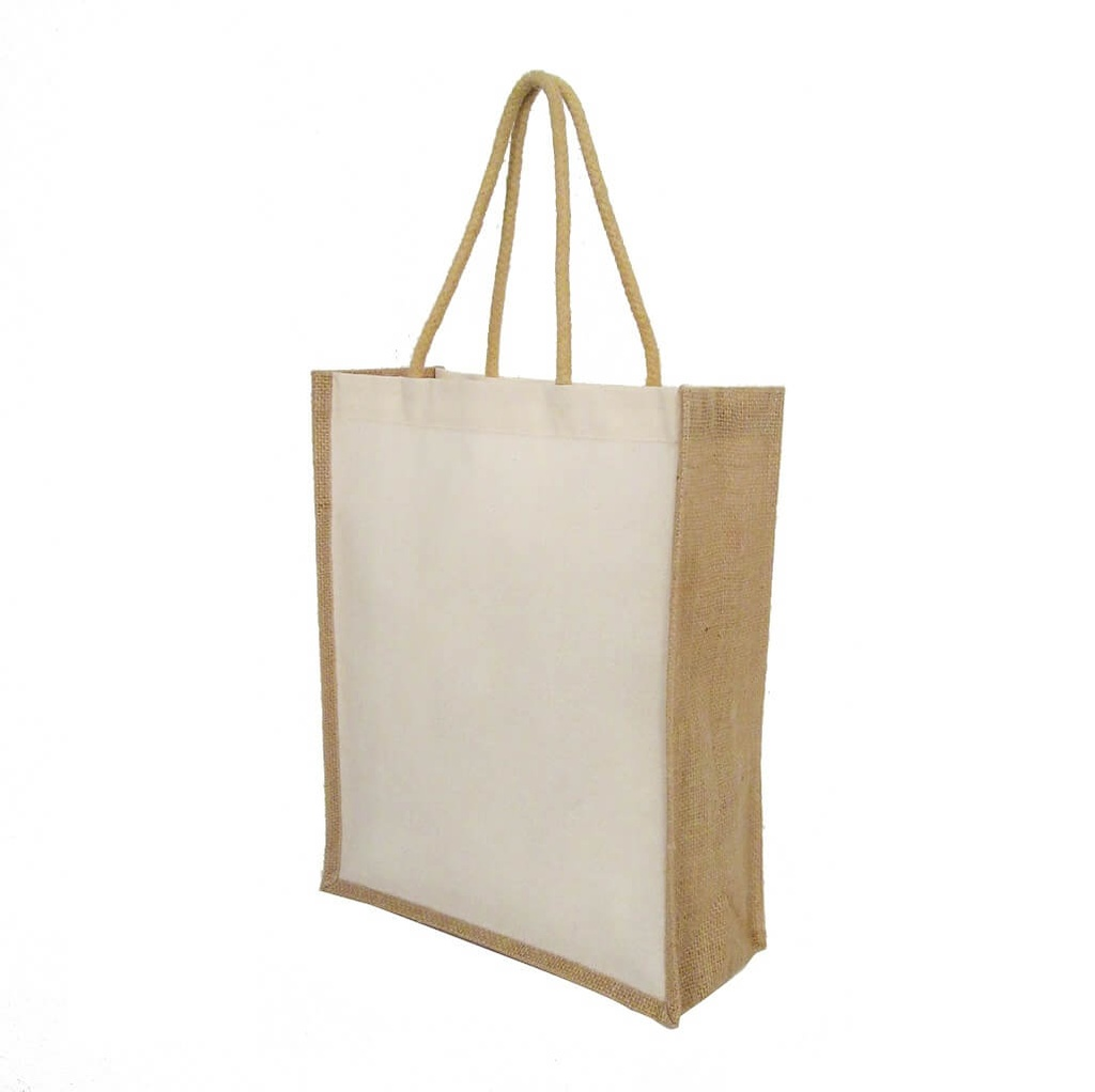 Eco-neutral Cotton Shopping Bag With Jute Gusset