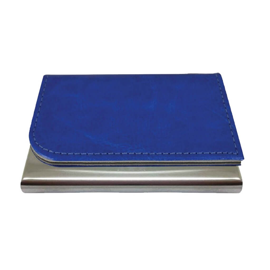 Brushed Metal Cardholder With PU Covering Blue