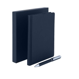 [GSSN 404] TOMAR - SANTHOME Set Of PU Thermo Notebook And Pen - Blue