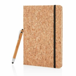 [NBEN 102] CORQ - eco-neutral Cork Notebook And Bamboo Pen Packed In Gift Box